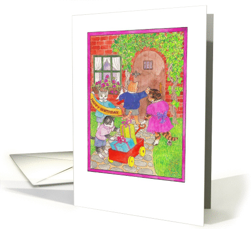 Four Cats Happy Birthday wagon of gifts for Party Catinka Knoth card