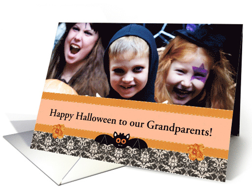 Grandparents, Little Bat Banner with Flowers, Photo card (1171854)