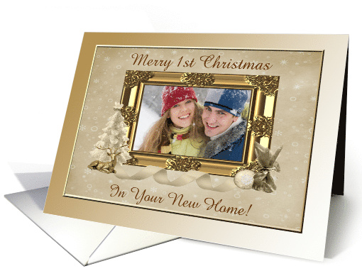 Photo card, Golden Christmas Greetings, First Home card (1299624)