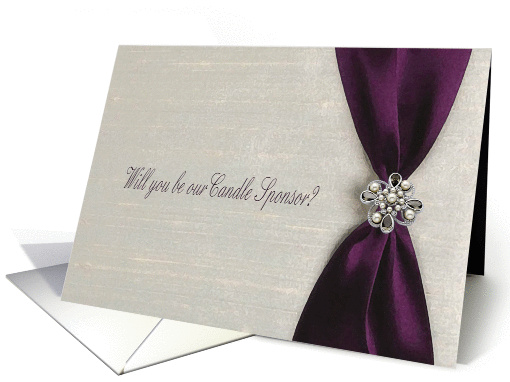 Plum Satin Ribbon with Jewel, Candle Sponsor card (593007)
