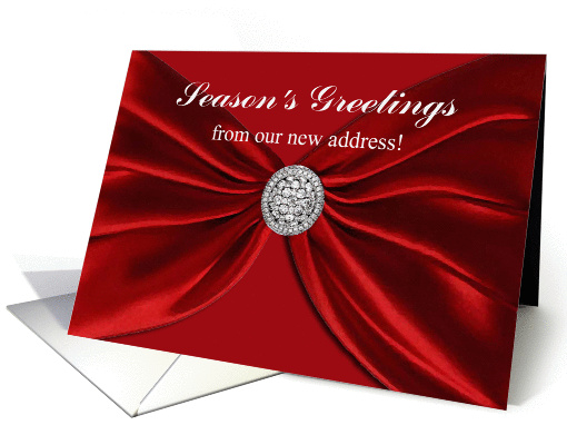 Season's Greetings from our new address, Red Sash card (879813)