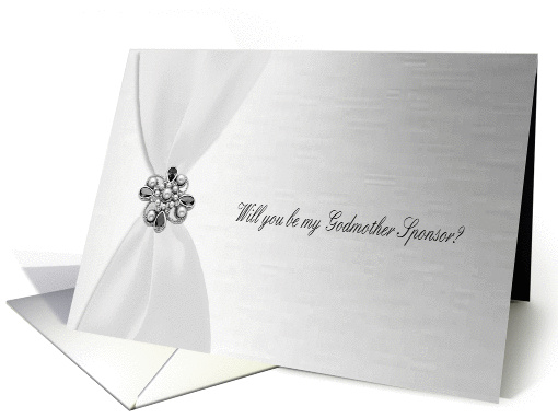 Godmother Sponsor, White Satin Ribbon Look with Faux Jewel... (897013)