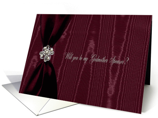 Godmother Sponsor, Red Ribbon Look with Jewel on Moire card (899001)