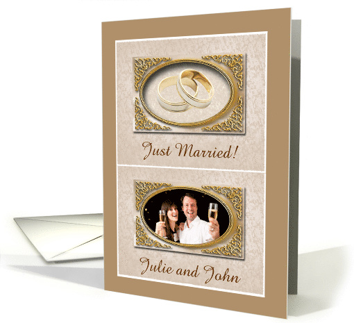 Photo Card Announcement, Just Married, Two Gold Wedding Rings card