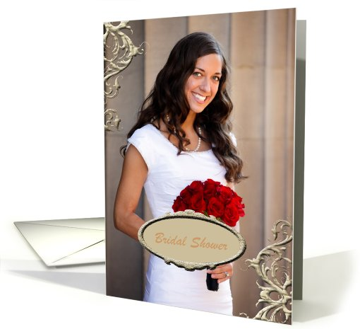Bridal Shower Photo Card, Gold Vines card (935778)