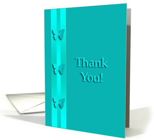 Thank You for the Referal, Three Aqua Green Butterflies card (943180)