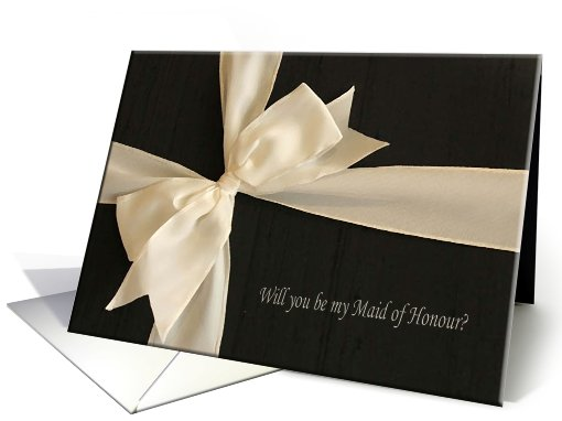 Cream Satin Bow on Black / Will you be my Maid of Honour? card