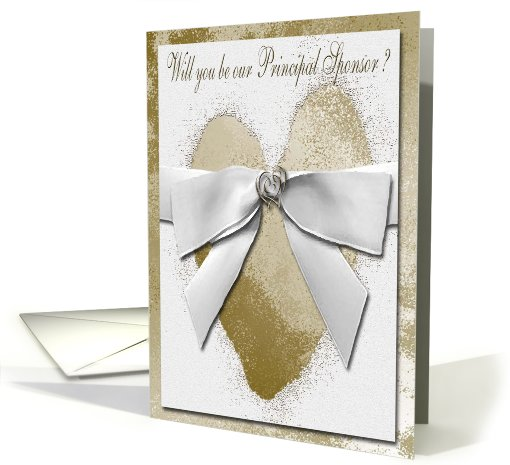 Invitation, Principal Sponsor, Gold Hearts with Bow card (630235)