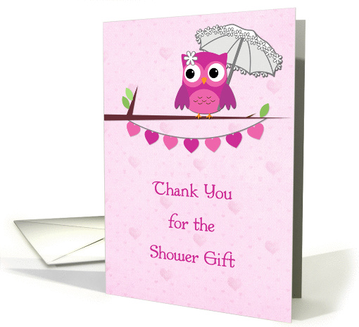 Pink Owl, Umbrella, Bridal Shower Gift Thank You card (1004053)