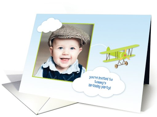 Green Airplane, Clouds, Birthday Party Photo Invitation card (1044697)