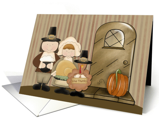 Pilgrims and Turkey, Thanksgiving card (1160150)