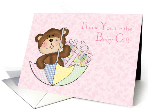 Baby Bear, Girl, Umbrella, Pink Hearts Thank you for the... (1188508)