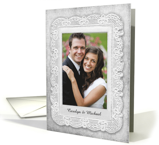 Vintage Lace and Damask, Gray, Thank You Photo card (1232784)