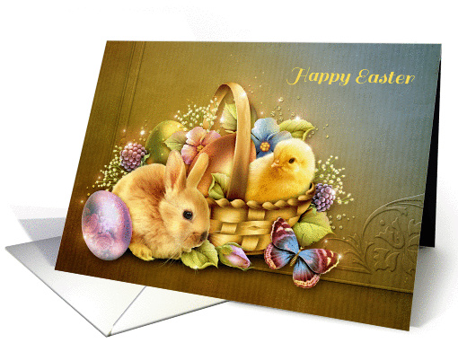 Easter Basket with Bunny and Chick card (1360964)