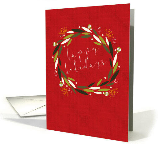 Modern Wreath on Red, Happy Holidays card (1411410)