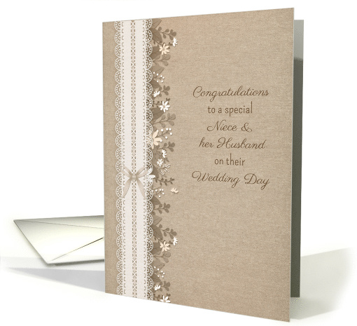 Congratulatons to Niece and Husband Rustic Wedding Lace Flowers card