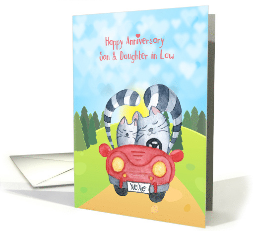 Son and Daughter in Law Anniversary - Loving Cats in Car card