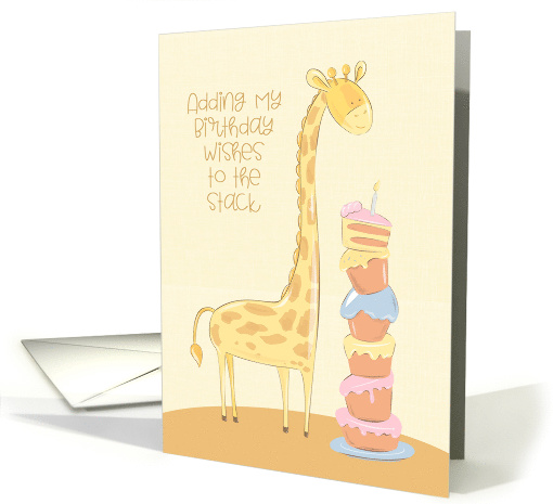 Birthday with Giraffe and Stack of Cakes card (1535316)