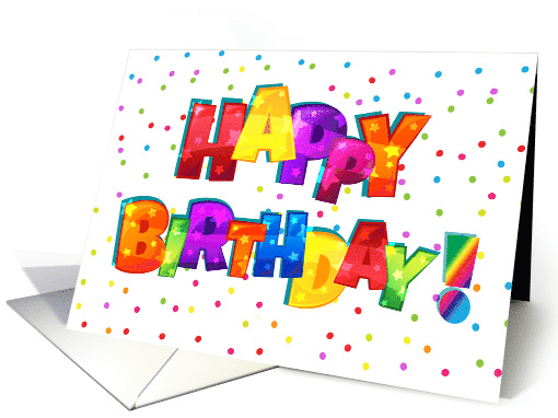 Colorful Rainbow Happy Birthday Text card (1550294)