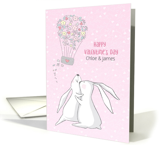 Customized Valentine with Rabbits and Hearts card (1555172)