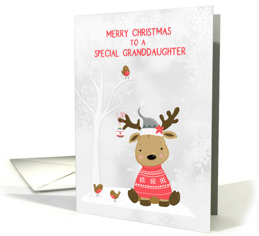 For Granddaughter Christmas Reindeer with Birds Snow Scene card
