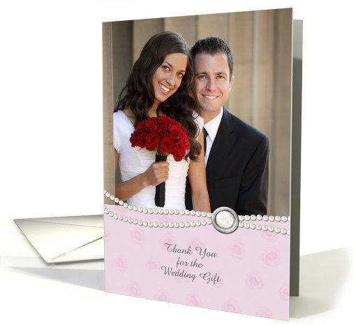 White Pearls, Jewel, Pink Floral, Wedding Gift Thank You Photo card