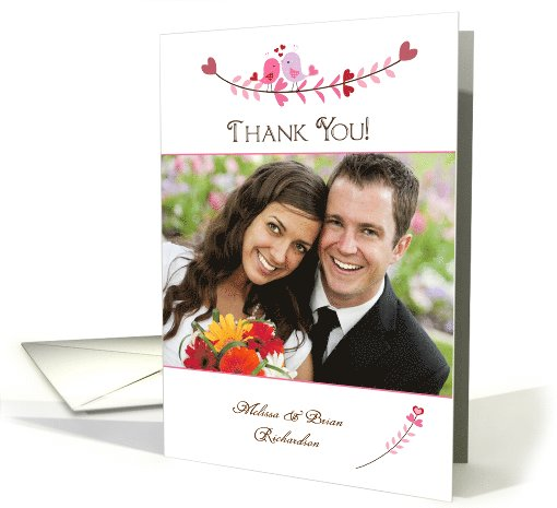 Pink Love Birds and Hearts, Wedding Thank You, Photo card (945505)