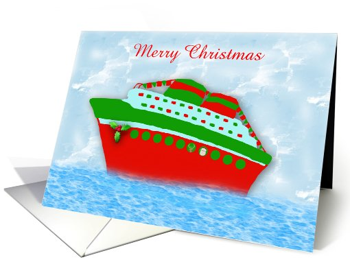Christmas Cruise Ship with holly and santa, cruise liner custom card