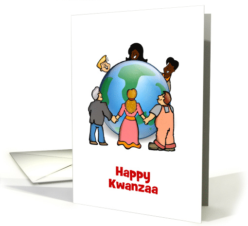Kwanzaa Blessings African-American Africa with earth and people card