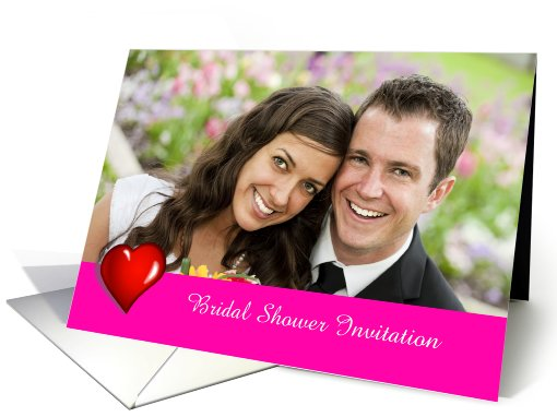 Bridal Shower Invitation photo card custom text with red... (932426)