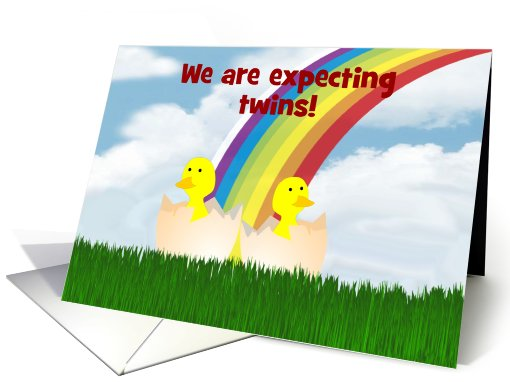 We're having twins baby announcement custom card with... (937349)