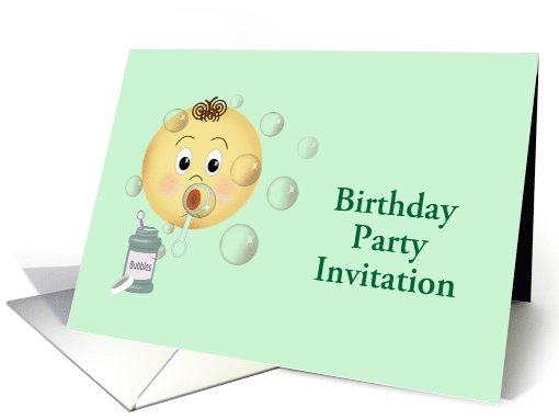 Birthday Party Invitation with child blowing bubbles custom text card