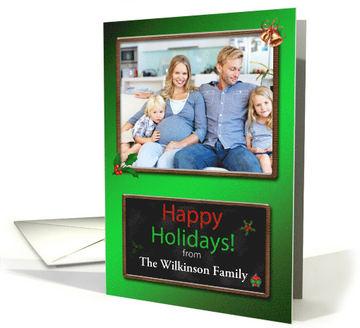 Chalkboard Happy Holidays Card with Photo and name card (1173470)