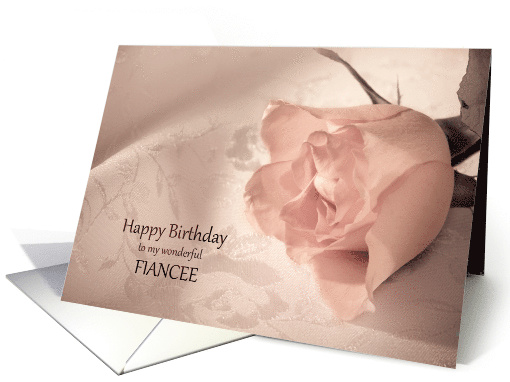 Fiancee, Birthday with a Pink Rose card (529988)