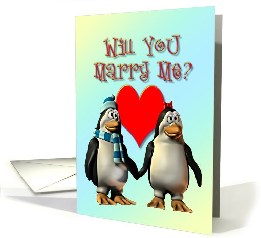 Marry me? Penguins in Love card (322101)