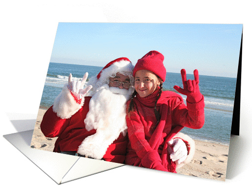 Santa and Little Girl in Red American Sign Language I Love You card