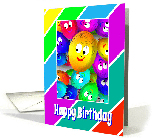 Birthday Card With Colorful Happy Face Ballons card (1063749)