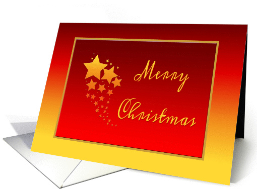 Gold and Red Christmas Card With Stars card (1147646)