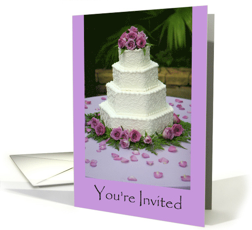 Invitation To A Summer Wedding With Cake And Flowers card (1463008)