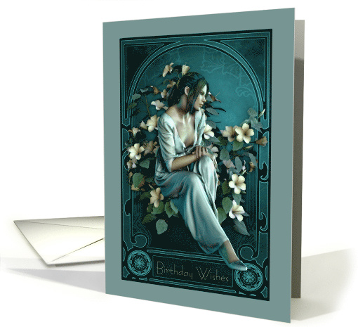 Birthday Wishes Art Nouveau Beautiful Woman card (1471526)
