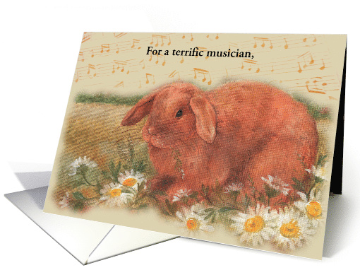 musician's birthday illustrated musical bunny card (1251774)