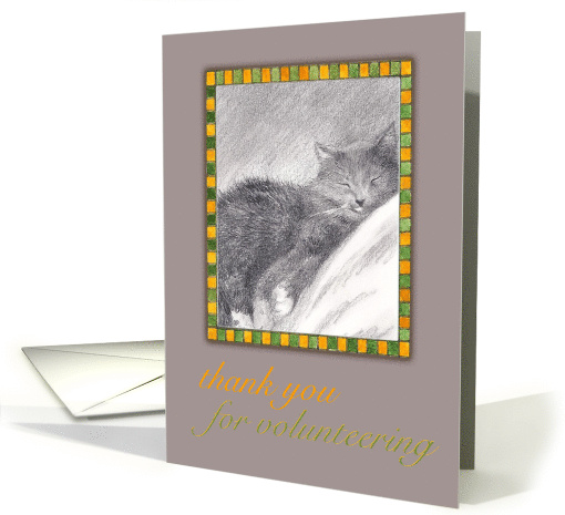Thank You For Volunteering Sleepy Cat Illustration card (831461)