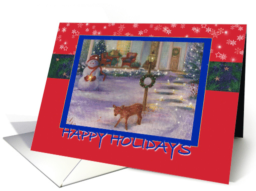 Cozy Xmas Cottage Winter Snowman & Deer card (878172)