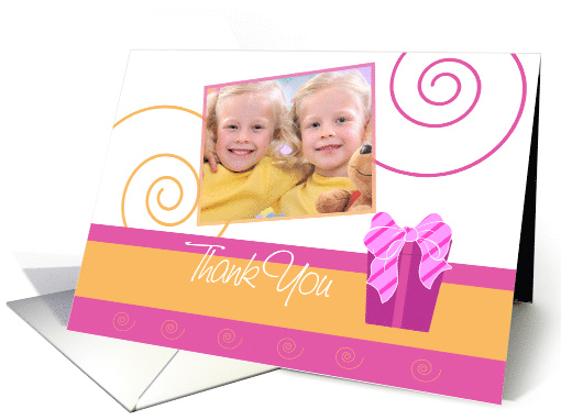 'Cheerful Pink and Orange' Birthday Thank You card (909119)