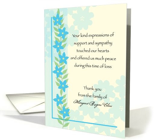 Sympathy Thank You Forget Me Not Blue Flowers Custom Text card