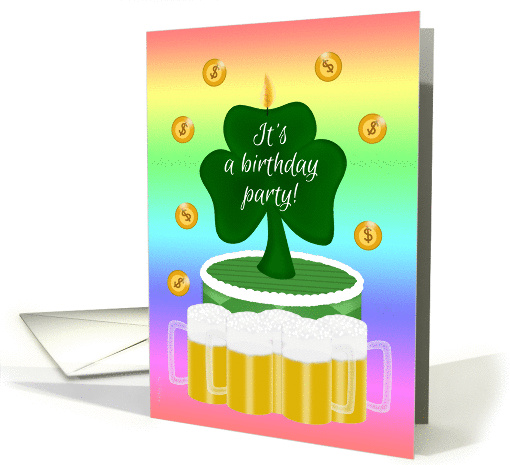 St. Patrick's Adult Birthday Party Invitation with Beer... (324885)