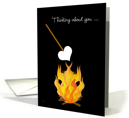 Summer Camp Thinking of You Toasting Marshmallow Heart card (844535)