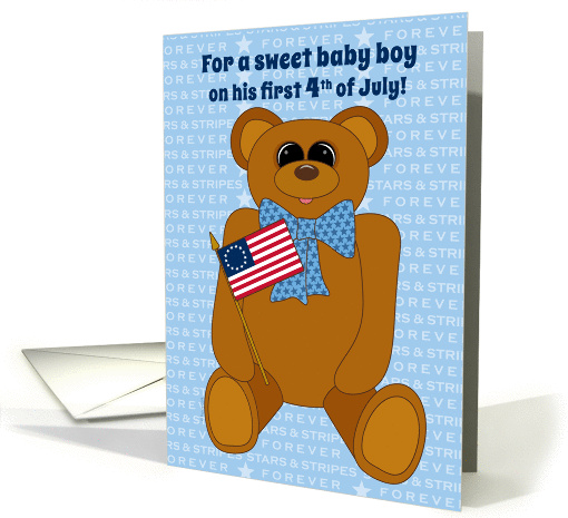 Baby Boy First July 4th Teddy Bear Stars Stripes Forever... (914841)