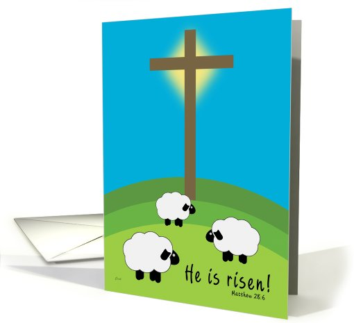 Easter He Is Risen Sheep and Cross card (541526)