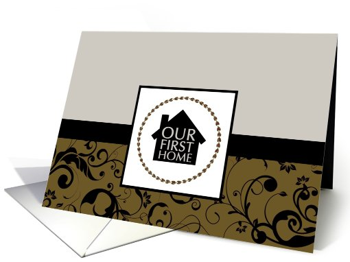 our first home announcement : professional damask card (732844)